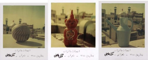 iranienne:  Arash Fayez's decadence of memories series; five Polaroids of favorite childhood relics against the backdrop of Tehran's crumbling urban landscape. Faded dreams of youth?