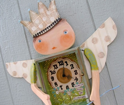 "Fairy Nursery Wall Clock - DIY Tutorial Made from scrap lumber, bead board, a dollar store picture frame and a vintage thrift store clock this nursery wall clock is 36"" tall from crown to toes."