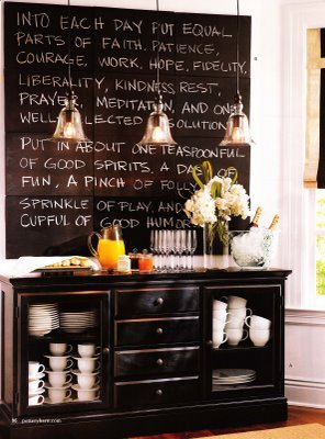 A really cute, classy idea for a kitchen or dining room…