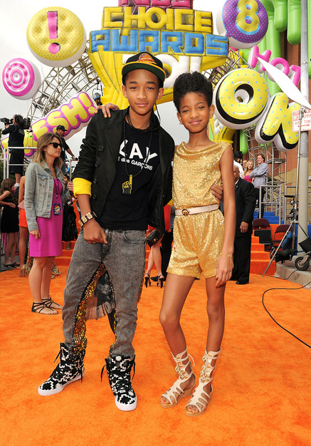 my daughter willow with her older brother jaden at the kids' choice awards. peep jaden's two tone jeans. (kinda look like hologram but it is probably sequin…) looks like something for my future naKIMuli men's line… i see u jaden!!! ;)