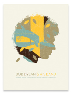 "Bob Dylan | Credit: Vahalla Studios | 18"" x 24"", 4-colors on natural stock"