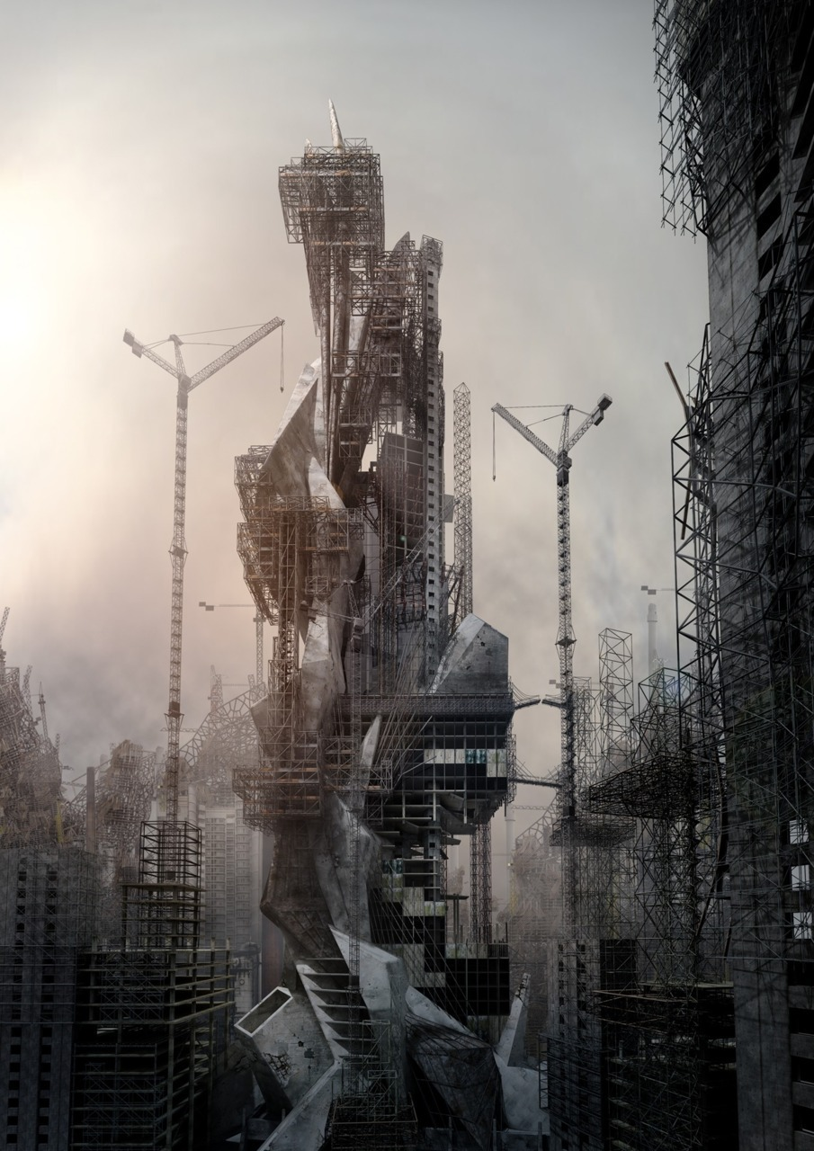 "paavo:  From dystopia to utopia | Fanciful Megalomania by Jonathan Gales via dpr-barcelona The film project Fanciful Megalomania is described by its author Jonathan Gales, as some ""Fanciful drawings of construction sites"". Gales is a film maker and designer based in London. For his master degree at the Bartlett School of Architecture, he is researching on the mixed use of film, animation, music and photography. Gales says about his project ""the film is focused around the city and his fanciful speculations of it"", and this statement just makes us think on the current visions that artist and architects have on the term ""city"". cit·y (st)n. pl. cit·ies1. A center of population, commerce, and culture; a town of significant size and importance.2. The inhabitants of a city considered as a group.3. An ancient Greek city-state.4. Slang Used in combination as an intensive: The playing field was mud city after the big rain. Seems like we don't see the city just as ""a center of population"" anymore. Far away of the avant-garde discourse and aesthetic production, it looks like we're facing a globally-oriented debate which shows the future of our cities dominated by ruins. A dystopic approach to our future.  Conflating real and imagined spatialities, Jonathan Gales is working on some graphic concepts that shows incomplete buildings, still under construction, being demolished alongside larger construction sites, alluding to a city that is increasing in development plans faster than it can be realised."