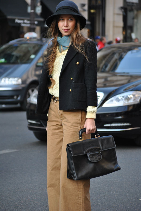 elle:  Street Chic: Paris Menswear done right, and the perfect messy braid. Photo: Melanie Galea