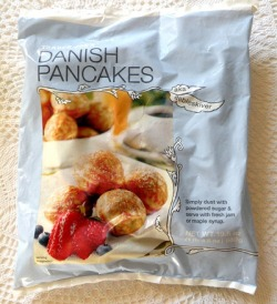 Trader Joe's Danish Pancakes. Simply put — and excuse my language — these are fucking delicious. They're soft inside and have a hint of lemon flavor. It says to sprinkle powdered sugar and serve with maple syrup or jam. I eat them with Nutella. Around $3-4 at Trader Joe's.