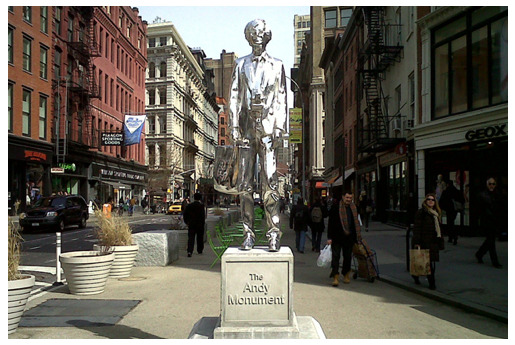 THE ANDY WARHOL STATUE Artist Rob Pruitt's homage to the late pop artist is erected in Union Square, once home to Andy's notorious Factory. The 10-foot monument features Warhol in a tweed Brooks Brothers jacket, Levi's 501's, and a Bloomingdales bag full of Interview mags. While temporary, the statue should be there at least 15 minutes.