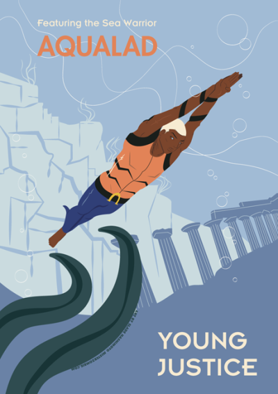 YOUNG JUSTICE POSTER SERIES: AQUALAD I've been itching to do some fanart from the series Young Justice. Not being an illustrator or drawer really, I decided to make something that was within my experience and that is posters. I'm a Graphic Design major and felt like making a series of Posters for the Young Justice members. My inspiration for these posters is the Disneyland Attraction posters. I love that retro feel they have and I wanted to incorporate it into my poster work as well. It also gives a nod to DC's Justice League: The New Frontier style as well, since they are influenced by that time period.This poster features the Young Justice current leader: Aqualad (Kaldur). Since he was the leader, it felt only right to make his first. I hope to have the rest of the teammates posters out in the near future.If you would like a print of these, I can make prints. I use an Epson R2880 Printer and will print on 5 Star Epson Matte A3 paper. Prints will be $45 + shipping. You can inquire by contacting me at misterzombieart@gmail.com