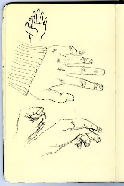 doodles. i do doodles of my left hand often. it's just always there. always available for me.