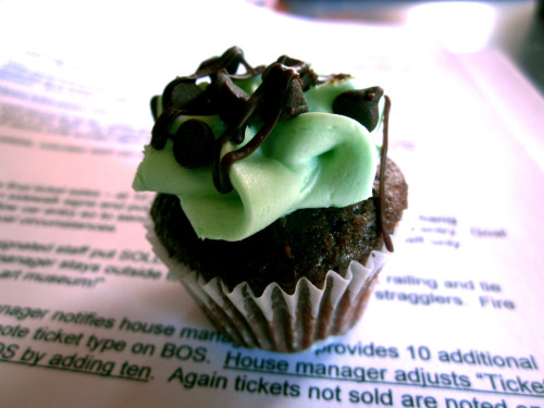 Tiny mint chocolate cupcake at the Church of Beethoven volunteer meeting.