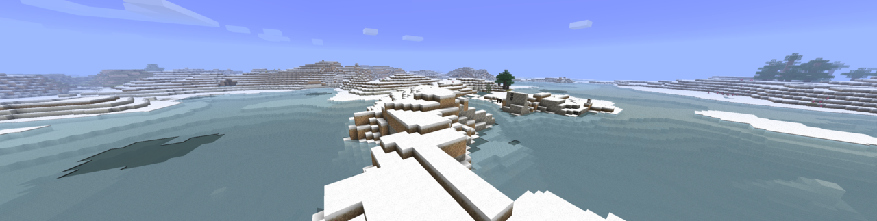 "Minecraft painted a woodless frozen wasteland when I used ""Tumblr"" for the seed… how apropos. (big version here)"