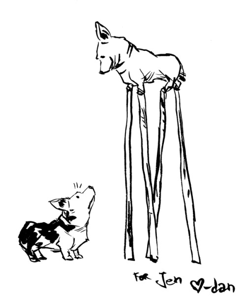 iheartdan:   some kinda small dog with short legs, with stilts!!! jentobox Make your own requests here.  I LOVE this!