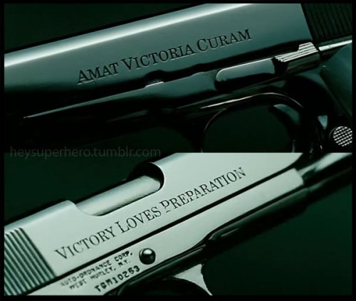 "AMAT VICTORIA CURAM ; ""Victory Loves Preparation"" From the movie: THE MECHANIC"