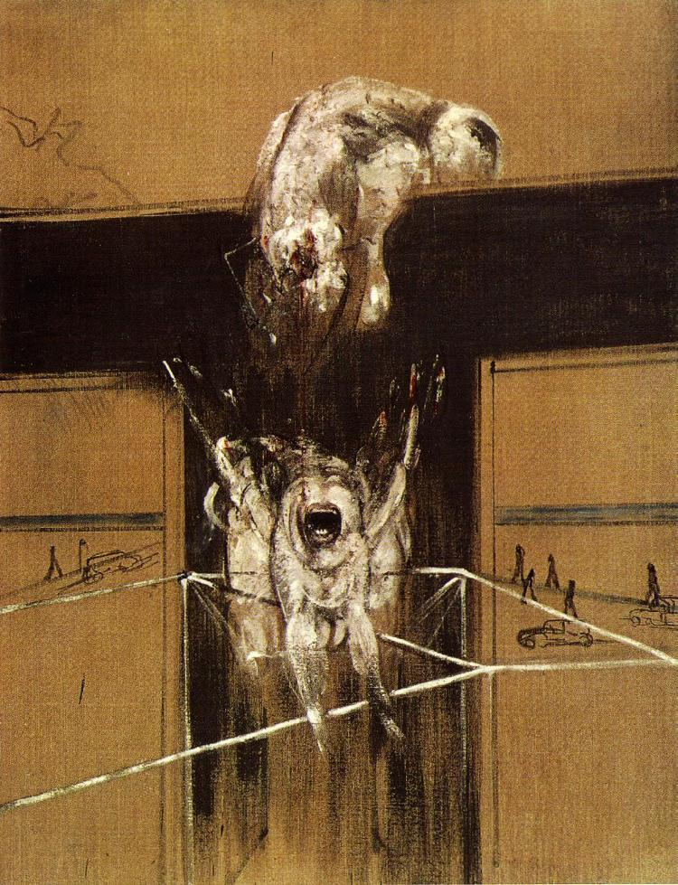 "beetleinabox:  Francis Bacon, Fragment of a Crucifixion, 1950 (Stedelijk Van Abbemuseum, Eindhoven). Thomas Bernhard writes:  ""Our greatest pleasure, surely, is in fragments, just as we derive the most pleasure from life if we regard it as a fragment, whereas the whole and the complete and perfect are basically abhorrent to us. Only when we are fortunate enough to turn something whole, something complete or indeed perfect into a fragment, when we get down to reading it, only then do we experience a high degree, at times indeed a supreme degree, of pleasure in it.""  (Thomas Bernhard, Old Masters, trans. Ewald Osers (Chicago: University of Chicago Press, 1989), p 18)."