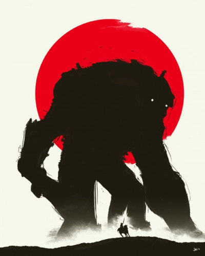videogamenostalgia:  Shadow of the Colossus - by Joe Guinto Up for auction on April 29th at the Kawaii Kon in Hawaii, with all proceeds going to the Gamers Heart Japan charity. Japan has had its fair share of giant monster attacks, let's help save them from a different kind of colossal disaster. (via: ianbrooks)