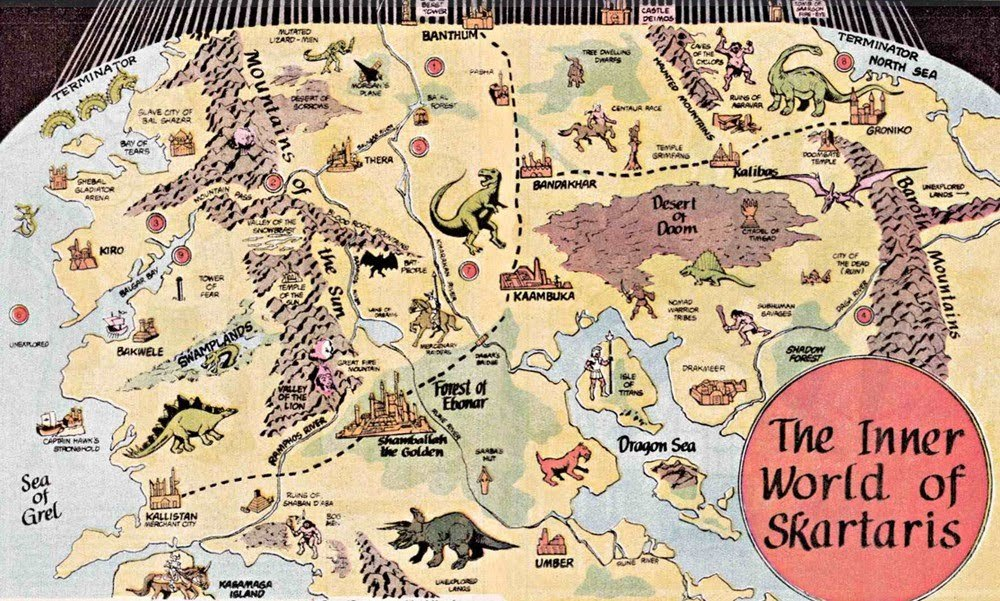 fuckyeahfictionalmaps:  The Inner World of Skartaris created by Mike Grell for the Warlord comic books