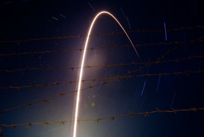inothernews:  FIRE / WIRE   A long-exposure photo of the launch of the Russian Soyuz TMA-21 spacecraft, named after cosmonaut Yuri  Gagarin, carrying the International Space Station (ISS) crew of U.S.  astronaut Ronald Garan, Russian cosmonauts Alexandr Samokutyaev and  Andrey Borisenko, at the Baikonur cosmodrome in Kazakhstan on  April 5, 2011.  (Photo: Shamil Zhumatov / Reuters via BoingBoing)