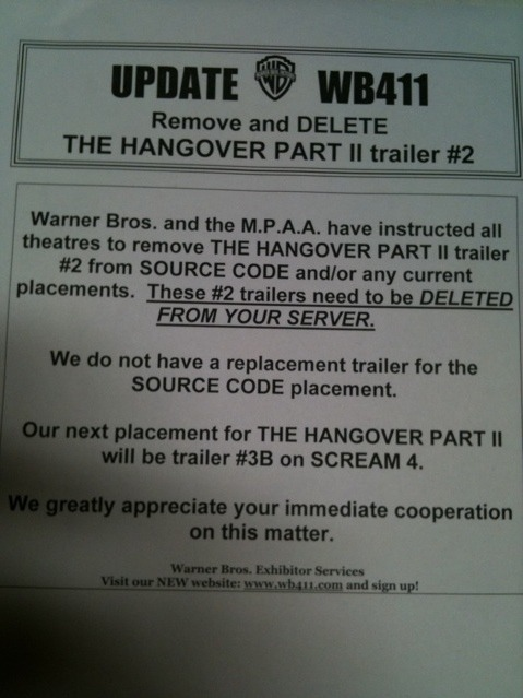 "Warner Brothers and the MPAA have pulled The Hangover Part II trailer from theaters. /Film did some sleuthing, to which WB replied ""no comment."" Given it comes from the MPAA as well as WB, I'd speculate that it has something to do with the mature nature of the content but who knows. themoviedoc:  Is Hangover 2 having production problems or something?"