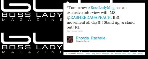 New @RasheedaGAPeach interview coming soon from Bossy Lady Magazine. When It's published We'll have the link :) Bossy.
