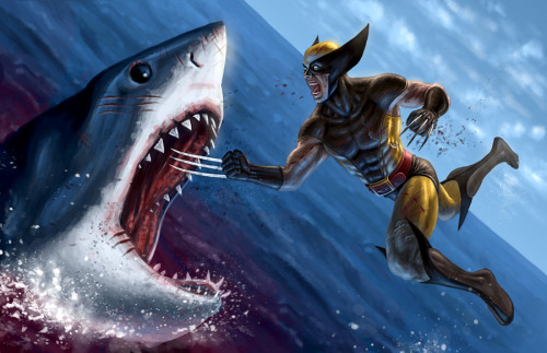 Shark Week Special: Wolverine got bored with fighting other mutants so he turned to beating up on sea creatures. Excellent illustration by artist Ryan Valle.  Wolverine VS Shark by Ryan Valle (deviantART) (CGHUB)