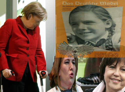 Do you know Merkel walking sticks? Yes, they are her sisters: Tzipi Livni and Martine Aubry. The founding stone of Aryan dictatorship. Constantly shouting into my ear: 'Martin! Kinder! Kinder!'. Know more about Jessuit's sisters: http://tatutur.blogspot.com/