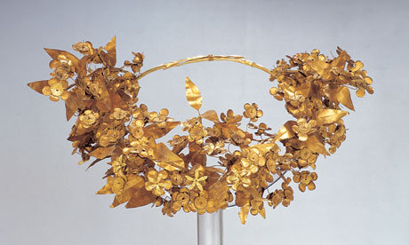 2,300 years old diadem of hundreds of golden myrtle flowers and leaves. From this extraordinary exhibit of ancient Greek culture at Oxford.