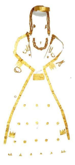 "The Lady of Aegae Gold funeral jewellery from burial ΛII at Aegae, c. 500 BC, ""The burial of this woman, dating to c. 500 BC, was excavated at Aegae in 1988. The so-called 'Lady of Aegae' was Queen and wife of Amyntas I and probably mother of Alexander I. She was buried richly-adorned with gold jewellery and accompanied by silver, bronze, glass and clay vessels, and other precious objects. Amongst her jewellery are a diadem, earrings, necklaces, pendants, brooches, a finger ring, and gold strips which would have been attached to the funeral shroud."""