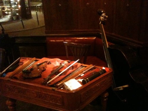 Instruments from the live music at dinner.