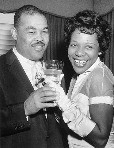 Boxing legend Joe Louis and pioneering beauty entrepreneur Rose Morgan on their wedding day, December 25, 1955.