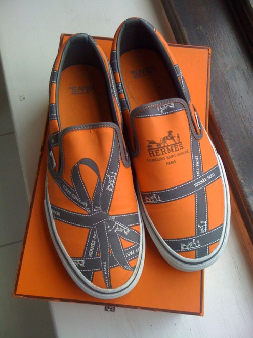 Robert Verdi's custom Hermes ribbon Vans. So freaking cool.