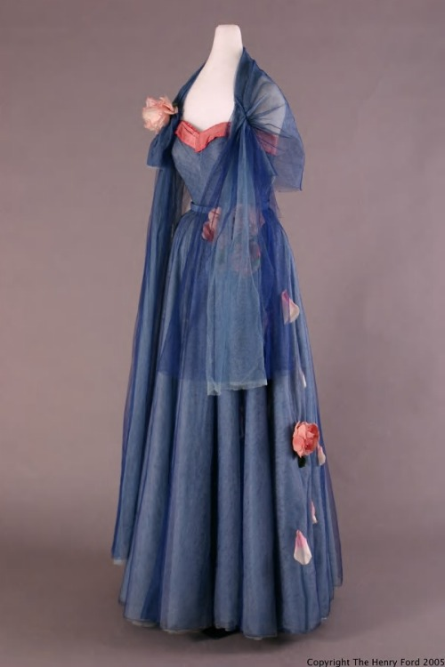 Dress with stole, ca 1948, Henry Ford Costume Collection