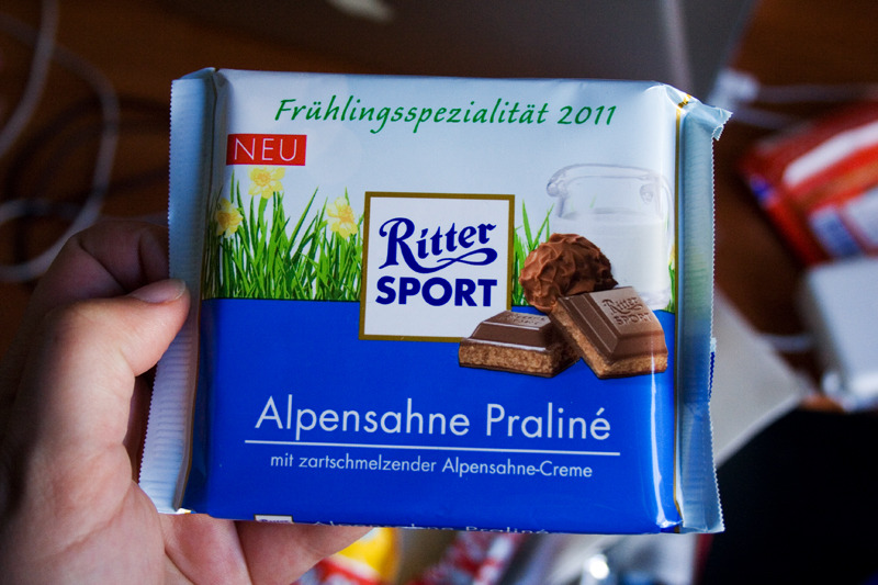 "day #30: ritter sport alpine cream & praliné is it possible that the ritter sports that say ""alpine"" taste better? i think this is definitely the case. another one that tastes like heaven :)"