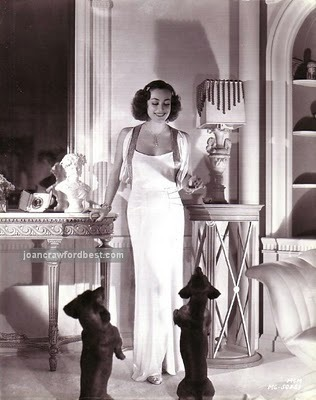 "Joan Crawford, with her dachshunds. (From my post, ""Joan, Oh Joan!"")"