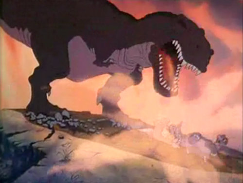 Mr. Sharptooth, could I just ask you something? During this film, at this particular point…did you breathe fire or something. Cause you just stopped and breathed on the children. It still has me really confused.
