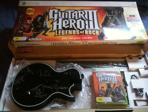 Auction: Guitar Hero III Signed By Def LeppardReuben Tilly lives in New Zealand and was kind enough to contact us to ask about auctioning off a Guitar Hero III: Legends of Rock signed by Def Leppard during their 2008 tour. Given that his home country has also recently experienced a natural disaster, we found his gesture doubly touching. Do keep in mind, North American bidders, that the disc will only work in PAL Xbox 360s.You are bidding on a signed Guitar Hero Guitar by Def Leppard , Bundled with GH3: Legends of Rock. The autographs are on the front of the Guitar as pictured, and we have obtained during their 2008 sold out concert in Auckland, New Zealand.We would like to thank the amazing work the Japanese search and rescue teams did in Christchurch, New Zealand and hope everyone can do what they can to help. Kia Kaha Japan, stay strong.This auction ends on April 11 at 13:58:46 PDT. Proceeds from this sale will benefit GlobalGiving.