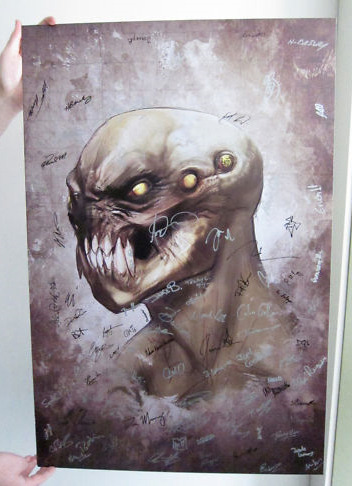 Auction: Resistance 3 Art Signed By Insomniac Games (1 of 2)Insomniac Games hosted a recent Community Day in Hollywood that attracted hundreds of fans to the Egyptian Theatre for new looks at Resistance 3 and Ratchet: All 4 One. Fresh off the event, they've kindly posted two auctions for Resistance 3 art, signed by the team. This is the first of two auctions.Resistance 3 Artwork featured at Insomniac Games Community Day 2011.  Signed by the entire team here at Insomniac Games.Size:  24″ Wide x 36″ TallThis auction closes April 12 at 11:37:28 PDT. All proceeds from this auction benefit Save the Children.