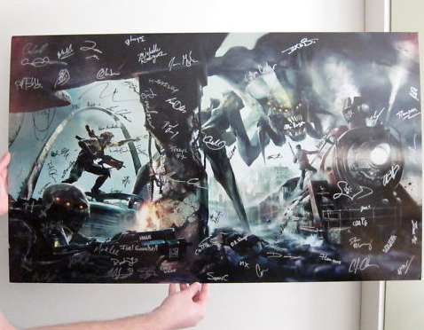 Auction: Resistance 3 Art Signed By Insomniac Games (2 of 2)Insomniac Games hosted a recent Community Day in Hollywood that attracted hundreds of fans to the Egyptian Theatre for new looks at Resistance 3 and Ratchet: All 4 One. Fresh off the event, they've kindly posted two auctions for Resistance 3 art, signed by the team. This is the second of two auctions.Resistance 3 Artwork featured at Insomniac Games Community Day 2011.  Signed by the entire team here at Insomniac Games.Size:  40″ Wide x 24 1/4″ TallThis auction closes April 12 at 11:25:51 PDT. All proceeds from this auction benefit Save the Children.