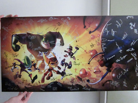 Auction: Ratchet & Clank Art Signed By Insomniac GamesInsomniac Games hosted a recent Community Day in Hollywood that attracted hundreds of fans to the Egyptian Theatre for new looks at Resistance 3 and Ratchet: All 4 One. The team is kindly auctioning signed art from the event, including this Ratchet piece. Ratchet & Clank Artwork featured at Insomniac Games Community Day 2011.  Signed by the entire team here at Insomniac Games.Size:  36″ Wide x 19 3/4″ TallThis auction closes April 12 at 11:33:45 PDT. All proceeds from this auction benefit Save the Children.