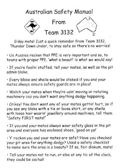 This sheet was handed out by a team from Australia at the championships last year
