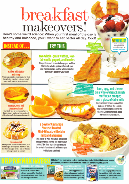 Seventeen Magazine has great ideas for snacks, meals, and workouts, I'll post some from my subscriptions throughout the week.