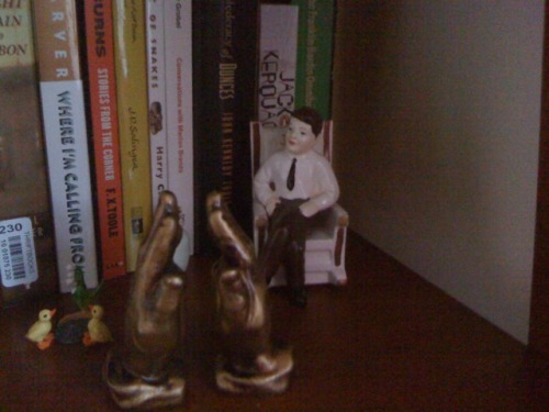 My newest: praying hands salt and pepper shakers - as the JFK salt and pepper shaker set looks on approvingly.