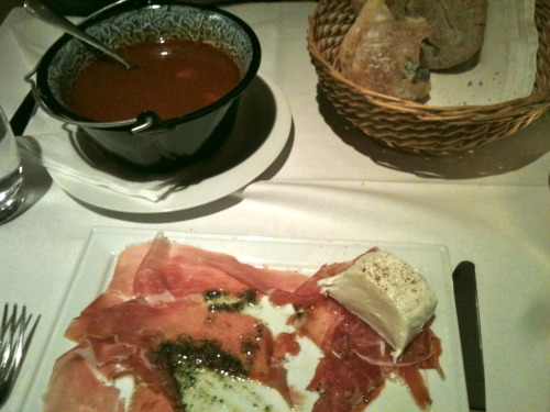 Another lovely dinner. Fantastic prosciutto, pesto, and mozzarella, followed by more goulash and fresh olive bread.