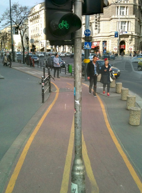Separate bike lanes and bike traffic lights.
