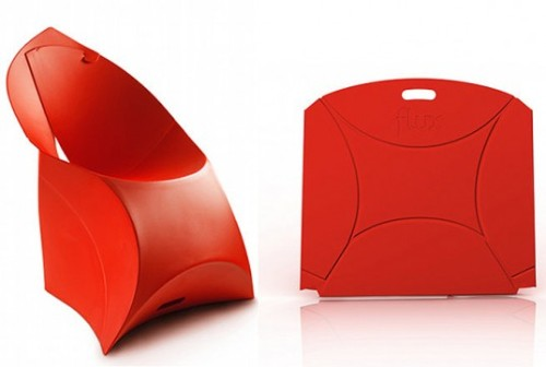 Flux Chair // Douwe Jacobs and Tom Schouten Designed by Douwe Jacobs and Tom Schouten, the Flux Chair is a collapsible chair design based on the principles of origami. Made from a single layer of plastic, the Flux can be folded from its one foot tall packaged state into a chair in less than 10 seconds and weights only 10.6 pounds. Via Inhabitat.com