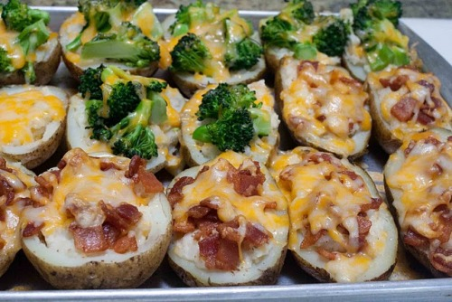 twice-baked potatoes with bacon or broccoli.