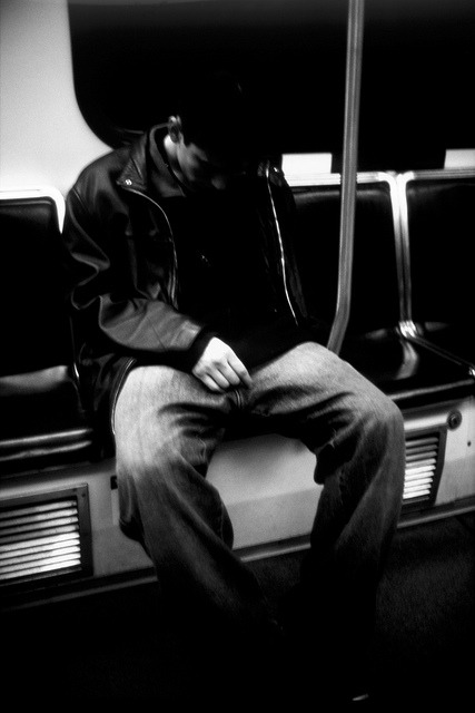 Commute: Death on the Skytrain on Flickr.He got on at the same stop as me, obviously high as a kite. Half way home, slumped down, I grabbed a few shots, and by the end of the line he was dead. I avoided even developing these for a month. Sometimes a picutre is just a moment in time, sometimes it's the last one they'll ever have.
