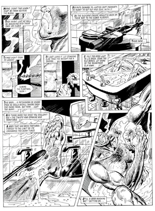 thedailydredd:  A prime page from one of the most justly lauded Dredd one-offs, 'In the Bath' from Prog 626. Two ignorant perps try to break into Joe's Rowdy Yates apartment, and Dredd, in contemplative mood, arrests them without getting out of the bath! Classic stuff.  JUDGE DREDD NEVER TAKES HIS HELMET OFF (except when…) …he's in the bath. Reblogging a The Daily Dredd scan taken from In the Bath 2000 AD progs 572(13/05/89) by John Wagner, with art by Jim Baikie.