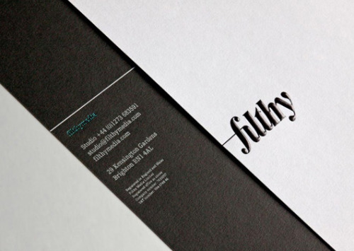 Great stationery set for Filthy Media, printed and finished by Generation Press.  Its got loads going on but still dosent look o.t.t. Textured card, letterpress, Spot UV…