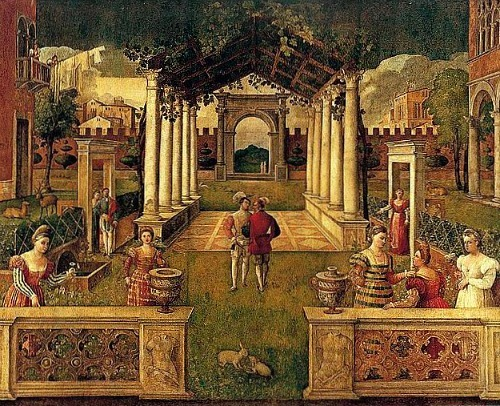 Bonifacio Veronese An Architectural Capriccio in an Ornamental Garden Early 16th century