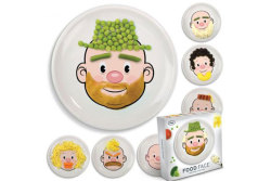 Play with Your Food: Food Face Plate! This is just too funny. This adorable face plate becomes a canvas for mealtime fun. Macaroni becomes hair. Peas a green beard. Carrots a mustache. The possibilities are endless! And, suddenly, the healthy foods you serve become super fun!