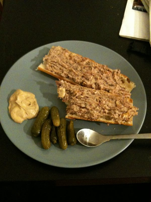 So the accidental rillettes worked out okay, though I'm not sure I can really handle having four pounds of mostly pork fat with the tiniest bit of meat hanging out in my fridge. Good thing properly preserved rillettes keep for months.