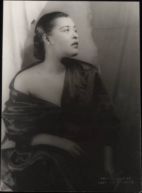 "Billie Holiday in 1949 by Carl Van Vechten. From Farah Jasmine Griffin's If You Can't Be Free, Be a Mystery: In Search of Billie Holiday:  The photographer remembers photographing her for two hours, and while she was initially despondent, she returned from a brief sojourn ""on a different plane, all energy, sympathy, cooperation and interest."""